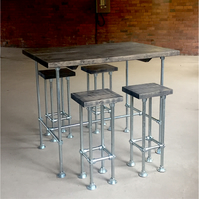 Industrial Breakfast Bar with Steel Pole Legs and Chunky Wood Top