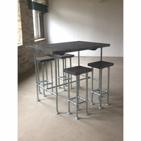 Industrial bar stools - steel legs and chunky wood seat