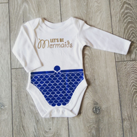 Lets Be Mermaids - Baby Grow - Blue Shimmer & Gold