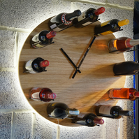 Wine O'Clock solid Oak hand made wine rack clock with LED backlighting