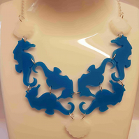 Under the Sea, Multiple Seahorse and Clam Shell Necklace - Acrylic