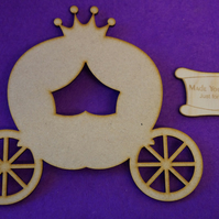 MDF Fairytale Princess Pumpkin Carriage 15cm - Laser cut wooden shape