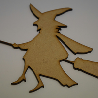 MDF Witch 12x11cm - Laser cut wooden shape