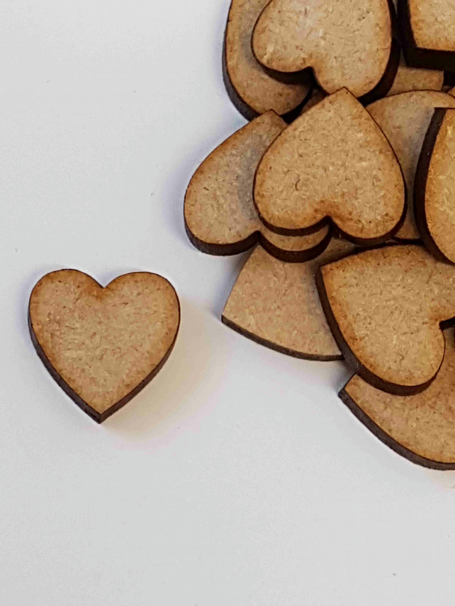 MDF Heart 1.5cm - 100 x Laser cut wooden shape