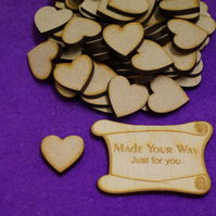 MDF Heart 2cm - 100 x Laser cut wooden shape