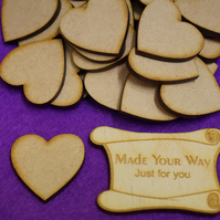MDF Heart 3cm - 50 x Laser cut wooden shape