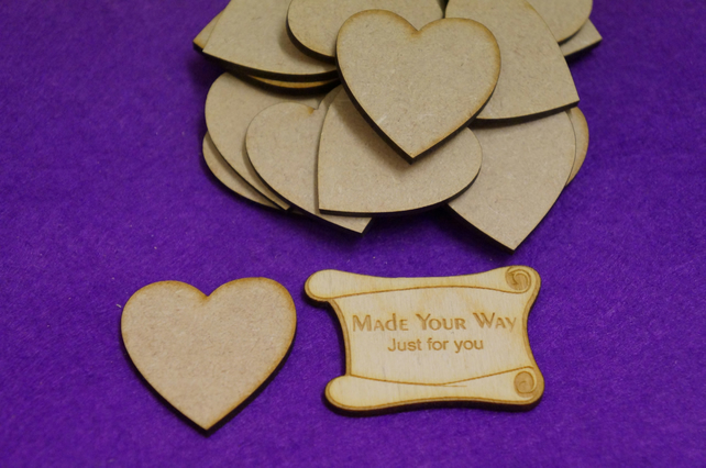 MDF Heart 4cm - 25 x Laser cut wooden shape