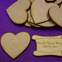 MDF Heart 5cm - 15 x Laser cut wooden shape