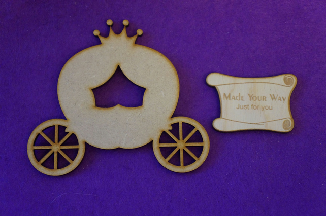 MDF Fairytale Princess Pumpkin Carriage 10cm Laser cut wooden shape