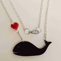 I love Whales Heart Necklace - Acrylic Necklace