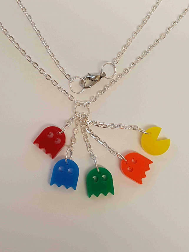 Pacman and 4 Ghosts Retro Necklace - Actylic