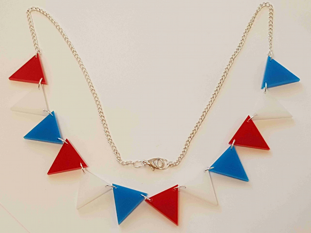 Bunting Necklace Red White Blue - Acrylic