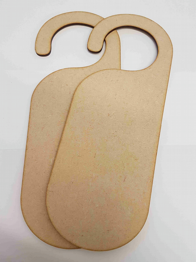 MDF Pack of 2 Door Hanger x 3mm - Laser cut wooden shape