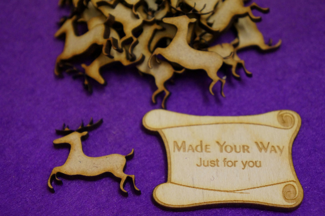 20 x Reindeer 3cm Craft Embellishment MDF Laser cut wooden shape