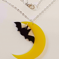 Bat and Moon Necklace - Acrylic