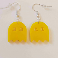 Pacman Ghost Retro Earrings - Acrylic