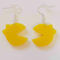 Ms Pacman Silhouette Retro Earrings - Acrylic