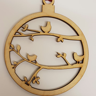 Birch Christmas Xmas Bauble 3 Birds on branches - Laser cut wooden shape