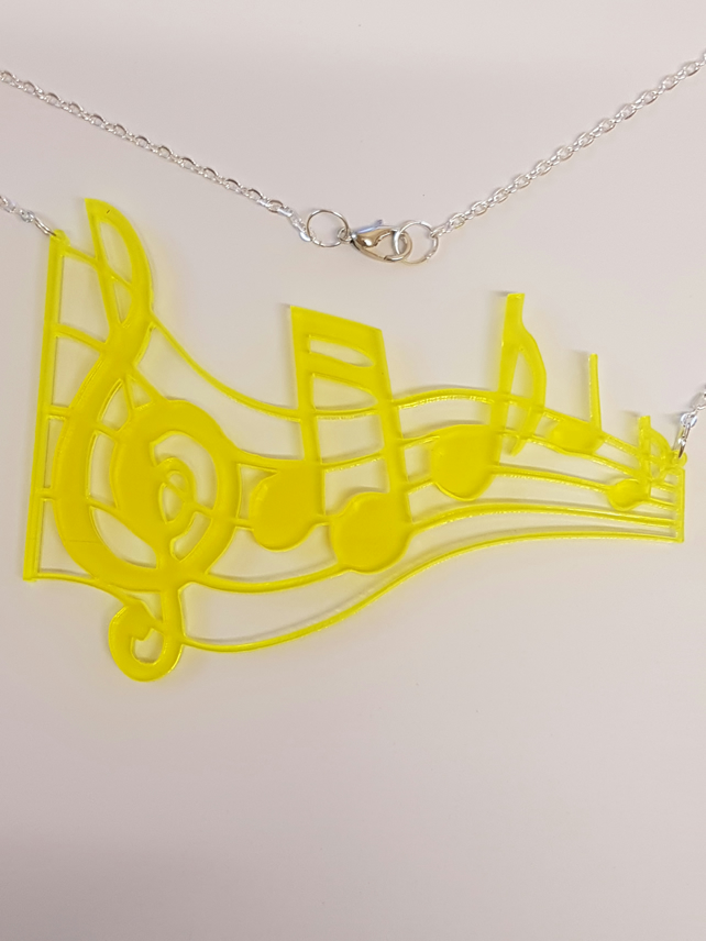 Musical Notes Necklace - Acrylic