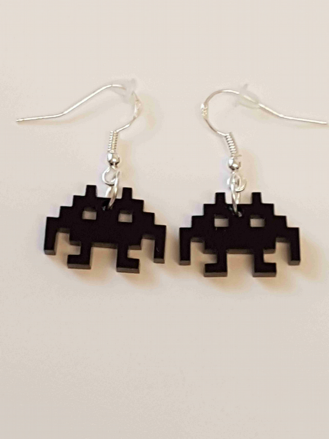 Space Invaders Retro Gaming Earrings - Acrylic