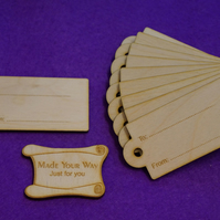 Birch Luggage Tag Rounded To From 4x8cm - 10 x Laser cut wooden shape