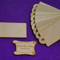 Birch Luggage Tag Rounded 4x8cm - 10 x Laser cut wooden shape