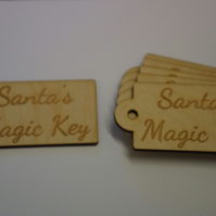Birch Luggage Tag Rounded Santa s Magic Key 4x8cm - 6 x Laser cut