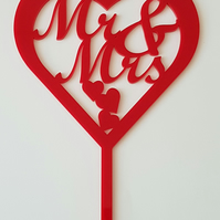 Acrylic Cake Topper - Mr & Mrs Heart - Laser cut
