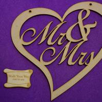 MDF Mr & Mrs in Heart 200mm x 3mm - Laser cut wooden shape