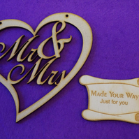 MDF Mr & Mrs in Heart 100 x 97mm x 3mm - Laser cut wooden shape