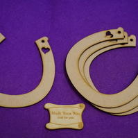 MDF Horseshoe one heart 11.5cm - 4 x Laser cut wooden shape