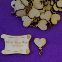 MDF Heart Balloon on String 3cm - 40 x Laser cut wooden shape