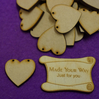 MDF Heart Bunting two holes 3cm - 40 x Laser cut wooden shape