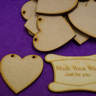MDF Heart Bunting two holes 4cm - 25 x Laser cut wooden shape