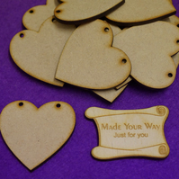 MDF Heart Bunting two holes 5cm - 15 x Laser cut wooden shape