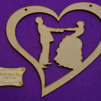 MDF Wedding married couple in Heart 200mm - Laser cut wooden shape
