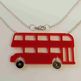 Red London Bus Retro Necklace - Acrylic