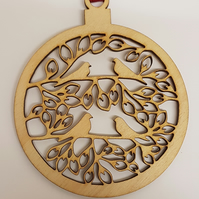 Birch Christmas Xmas Bauble 4 Birds on branches - Laser cut wooden shape