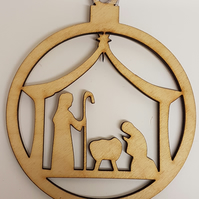 Birch Christmas Xmas Bauble Nativity Scene - Laser cut wooden shape