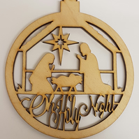 Birch Christmas Xmas Bauble Oh Holy Night Nativity Scene - Laser cut wooden