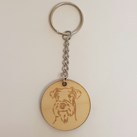Schnauzer Dog Keyring - Birch Plywood