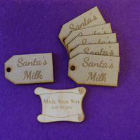 MDF Luggage Tag Squared Santa's Milk 3x5cm - 6 x laser cut wooden shape