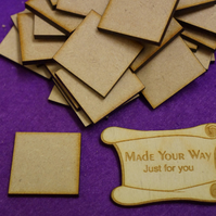 MDF Square 3cm - 50 x Laser cut wooden shape
