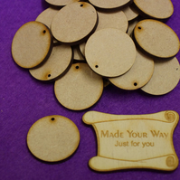 MDF Circle Round one hole 3cm - 40 x Laser cut wooden shape