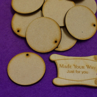 MDF Circle Round one hole 4cm - 25 x Laser cut wooden shape