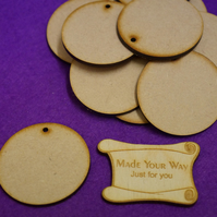 MDF Circle Round one hole 5cm - 15 x Laser cut wooden shape