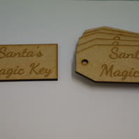 MDF Luggage Tag Squared Santa s Magic Key 4x9cm - 6 x Laser cut wooden shape