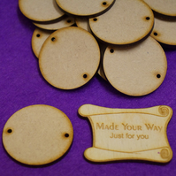 MDF Circle Round two holes 4cm - 25 x Laser cut wooden shape