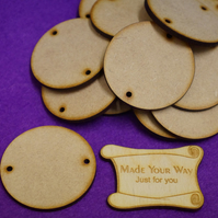 MDF Circle Round two holes 5cm - 15 x Laser cut wooden shape