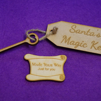 MDF Luggage Tag Squared Santa s Magic Key with Key 4x9cm - Laser cur wooden